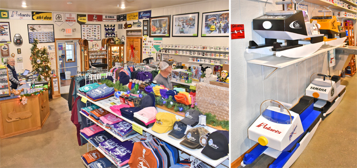 Snowmobile Museum Gift Store - Clothing, hats, mats, books, toys, art, banners