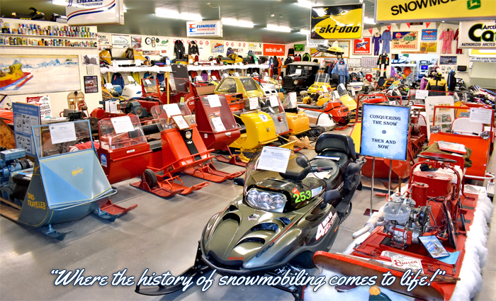 Snowmobile Museum sleds that are on display.