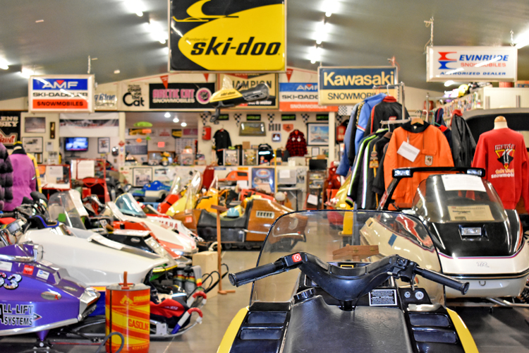 The snowmobile museum showcases over 180 sleds on display.