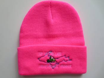 Knit hat with rolled brim, pink
