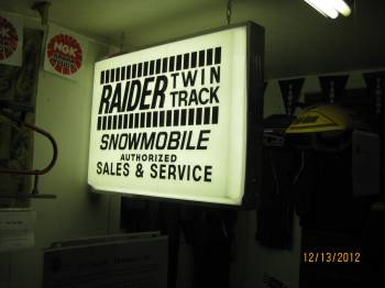 Raider sign on display
