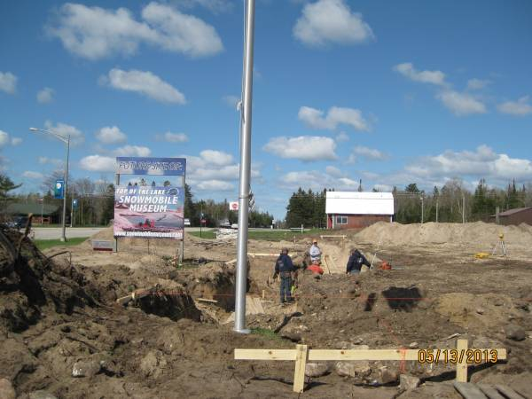 Forward Concrete crew making the foundation forms